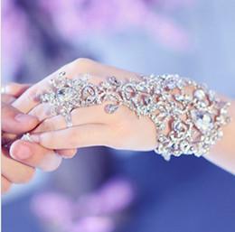 elegante pulsera de cristal Rhinestone nupcial con el anillo del dedo pulsera pulsera de baile fiesta de bodas jb050 evento de joyería
