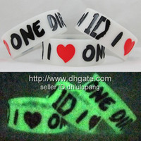 "Unisex Party Silicone Glow in the Dark I LOVE ONE DIRECTION Wristband 1D Bracelet,custom design,color filled,1""silicone band,50pcs lot"