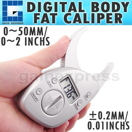 Wholesale 510 New Digital LCD Body Fat Caliper Skin Fold Measurement Thickness mm inch LCD