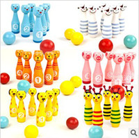 Wholesale Wooden Bowling with Animal Design Learning System Family Game Education amp Learning Toys Kids Toy