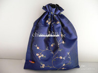 drawstring shoe bag - Satin Shoe Dust Bag Embroidered Drawstring Double Layer pack Mix Color
