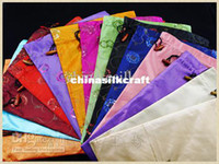 Wholesale Silk Fabric Drawstring Shoe Bags with Lining Sequins Large Gift Pouch pack mix color Free