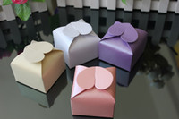 Wholesale 200PCS Wedding Favors Candy Box Purple Pink White Beige Heart Design Favor Box