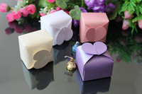 Favor Boxes Ivory Paper Wholesale - 200PCS LOT Wedding Favors Candy Box Purple Pink White Beige Heart Design Favor Box Free Shipping