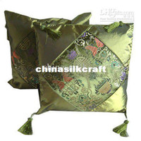 Wholesale Green Cushion Covers Silk brocade Square inch Tassel Splice Flower Pattern Free