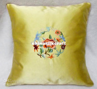 Wholesale Yellow Designer Sofas Cushion Covers New High End Silk Fabric Embroidery Patterns Free