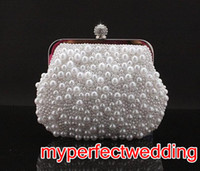 Wholesale Unique Style White Black Ivry Pearl Bridal Hand Bags for Wedding Evening Party Event