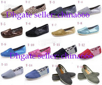 Wholesale New arrivals Women s Classic Tom casual canvas shoes EVA stripes glitters canvas Flat Lovers shoes shoe pairs