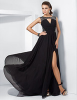 Wholesale A line Jewel Sweep Brush Train Split Front Chiffon Evening Dress With Split Front inspired by Ziyi Zhang at the th Oscar