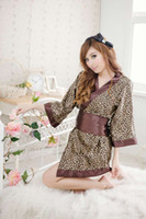 Wholesale 2013 New cosplay woman Japan kimono Leopard Lingerie Sex sleepcoat