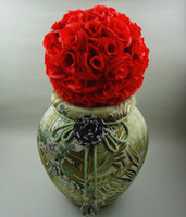 New Artificial Encryption Red Rose Silk Flower Kissing Balls...