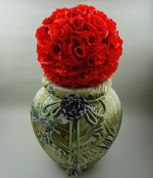 New Artificial Encryption Red Rose Silk Flower Kissing Balls For Christmas Ornaments Wedding Party Decorations Supplies