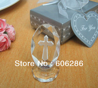 Wholesale 144pcs Beautiful religious laser engraved crystal cross decoration for wedding keepsakes