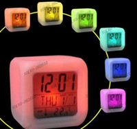 Wholesale LLFA869 Best selling Glowing LED Color Change Digital Alarm Mood Clock Multifunction music led Colourful clock