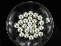 Wholesale hot sell beige color loose plastic two hole faux pearl beads mm