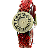Wholesale Fashion Retro Digital Dial Women Watches PU Leather Braided Strap Mix Colors W167