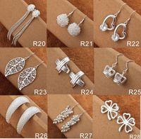 Bijoux à la mode pour femmes Mélangez des styles 50 paires de mode 925 Silver Shining Diamond Circles Rings Multi Styles Diamond Earrings Livraison gratuite
