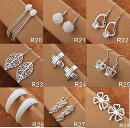 Hot Selling Women's Jewelry Mix Styles 50 Pairs Fashion 925 Silver Shining Diamond Circles Rings Multi Styles Diamond Earrings Free Shipping