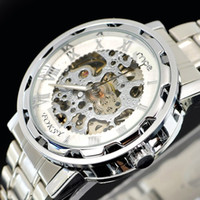 Wholesale 2013 Hot Silver Stainless Steel Hollow Automatic watch Mens Wrist Watch MCE