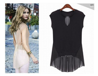 Sleeveless Chiffon  2013 new chiffon Tank Tops Woman blouses sexy fashion design in Champagne and Black color M L XL XXL sizes