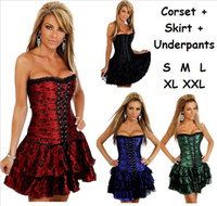 Wholesale Sexy Green Corset Skirt - New Women sexy Lace Retro Shapers + Mini Skirt + Underpants S M L XL 2XL Ladies Red Gothic Slim Corsets Corsette Dress Lingerie Intimate 630