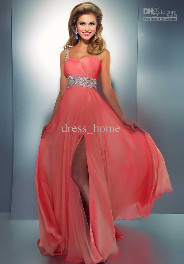 Most Popular A Line One Shoulder Sweep Train Coral Pink Chiffon ...