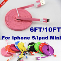 Wholesale 8 pin Flat Noodle Charger cable For Iphone Colorful M FT M FT Data USB adapter charging extension long Cord for iphone5 ipad mini