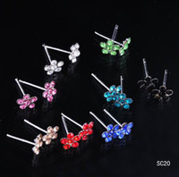 stud earring lot - 40pcs box Colorful Flower Ear Studs Crystal Sterling Silver Ear Stud Earrings boxes Ear Piercing Jewelry Free P P SC20
