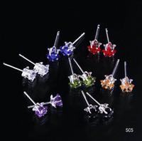 925 Sterling Silver ear piercing studs - 2015 Stars Ear Studs Colorful Crystal Plated Sterling Silver Ear Stud Earrings boxes Ear Piercing Jewelry SC5