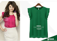 Wholesale 2013 New Lady chiffon Sleeveless blouses solid Rose Green Blue color loose lady women blouses Size S M L XL