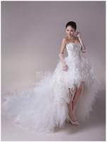 Wholesale Real Picture High low Short Front Long Back Zuhair Murad Wedding Dress Feather Lace Up Corset Party Prom Dresses