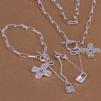 Gift agate cross - hot fashion design Checkered chain hanging cross set unisex sterling silver necklace bracelet set silver jewelry set DSSS