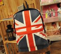 backpack english - Women American flag backpack fashionable English style shoulder bag students school bag D