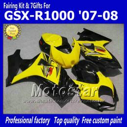 7 Gifts motorcycle fairings for SUZUKI 2007 2008 GSX-R1000 07 08 GSX-R1000 K7 GSXR1000 GSX R1000 yellow black ABS fairing dd81