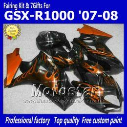 7 Gifts motorcycle fairings for SUZUKI 2007 2008 GSX-R1000 07 08 GSX-R1000 K7 GSXR1000 GSX R1000 orange flame in black ABS fairing dd88