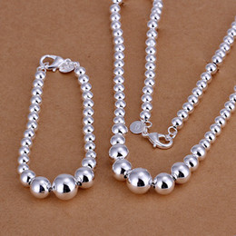 Wholesale brand new round beads set sterling silver necklace bracelet earring set silver plated jewelry set DSSS