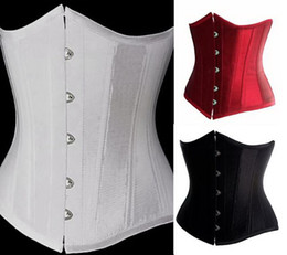 Wholesale Sexy Lady s Satin Underbust Corsets Waist Training Cincher Tummy Red Black White XL XL Slim Bodysuits Lingerie Intimate Shaper wear