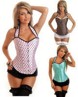 Wholesale Fashion Lady s Lolita Pink Polka Dot Corsets Intimate Halter Slim Body Suits Shapers Blue Brown Women Boned Corselet Underwear lingerie