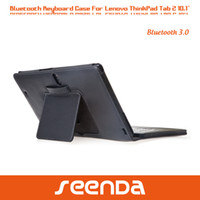 Wholesale For Lenovo ThinkPad tablet Wireless fold up Bluetooth keyboard case removable keyboard and case in