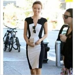 2016 Hot Fashion sexy dress women's dress evening party dress street style sleeveless zip dress patchwork black and white colors midi dress