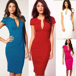 Wholesale 2013 New Elegant V Neck Fashion Celebrity Pencil Summer Women Wear to Work Slim Pocket Party Bodycon Dresses D0028 for Retail