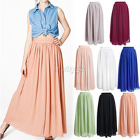 Wholesale Womens Girls Double Layer Chiffon Pleated Retro Vintage Maxi Long Skirt Dress