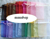 Wholesale x9 cm Mix Color Nice Chinese Voile Christmas Wedding Gift Bag Organza Bags Jewelry Gift Pouch