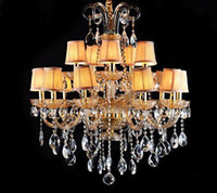 Wholesale Modern Fashion Cognac Color Glass Transparent K9 Crystal Fabric Pendant Lamp Chandelier Living Room Light Dia cm H cm Lights