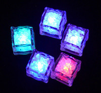 Wedding   colorful Led Ice Cube water-actived Light-up Flash light 7 colors Auto Changing Crystal Cube for wedding party Bar Valentine's Day 12pcs