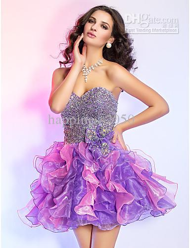 Pretty Purple/Pink Organza Sweetheart Beads Short Homecoming ...