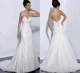 Wholesale Sexy Applique Beading Rhinestone Beads Pleat White Ivory Strap Taffeta Sheath Wedding Dresses Floor Length Bridal Gown Court Train S07