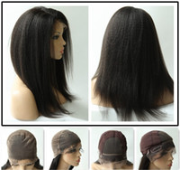 Wholesale Rani Hair Real Brazilian Remy Human Hair Full Lace Wigs Two Style Caps Color Boff Black Inch Kinky Straight DHL Free CF031