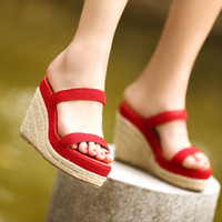 Women Wedge  Elevator platform rattan garden wedges sandals high-heeled slippers sandals