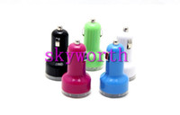 Wholesale Dual USB Port Car Charger Cigarette A Auto Power Adapter for iphone ipad ipod Samsung